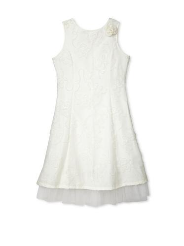 Jellybean of Miami Girl's Plus Size Empire Tie Back Dress (Ivory)
