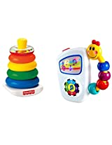 Baby Einstein Take Along Tunes Infant Toy And Fisher-Price Brilliant Basics Rock-a-Stack Bundle Includeds 2 Toys And Makes A Great Baby Shower Gift Set