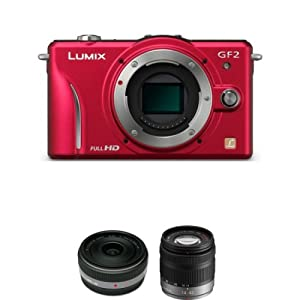 Panasonic Lumix DMC-GF2 12.1 MP Compact System Camera (Red) (Body) + Panasonic Panasonic Lumix G 14mm F2.5 ASPH Lens + Panasonic Lumix 14-42mm f/3.5-5.6 G Vario Aspherical Lens