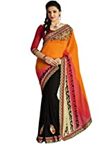 Alluring Chiffon And Georgette Orange Half & Half Saree with Blouse