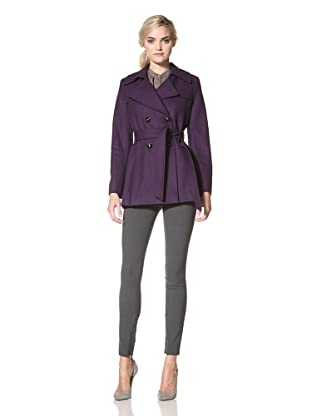 Via Spiga Women's Belted Wool Trench Coat (Via Purple)