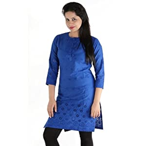 Urbane Woman Women's Cotton Embroided Chikan Kurti (uw.kur.9493_1_Blue_Large)