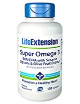 Life Extension Super Omega-3 EPA/DHA with Seasame Lignans and Olive Fruit Extract, 120 Softgels