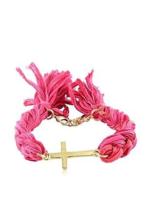Ettika Red Vintage Ribbon Bracelet with 18K Gold-Plated Cross Charm
