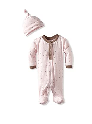 Coccoli Baby Cotton Footie with Cap (Pink)
