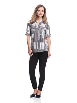 Calvin Klein Women's Printed Roll-Tab Sleeves (Birch Multi)