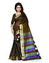 Shree Sanskruti Dark Mahendi (Heena) Color Tassar Silk Saree For Women