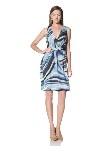 Anne Klein Collection Women's Drape Front V-Neck Dress (Blue/White/Black/Beige)