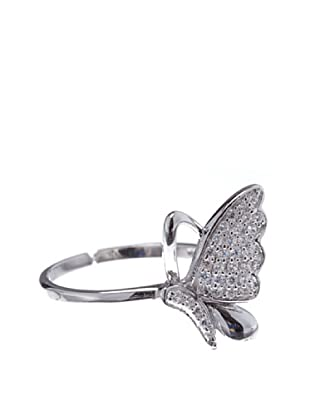 Silver One Anillo Mariposa Strass