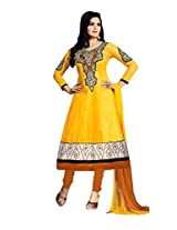 Abida Printed Rich Cotton Yellow Color Semi Stitched Suit