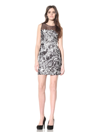 Andrew Marc Collection Women's Printed Dress with Sheer Neckline (Black/White)
