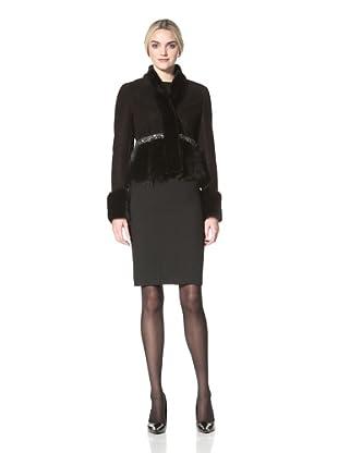 Badgley Mischka Women's Cynthia Shearling Jacket with Beading Detail (Black)