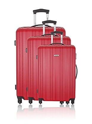 Travel ONE Set de 3 trolleys rígidos Carlisle Rojo