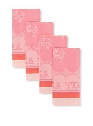 Garnier-Thiebaut Set of 4 Cup of Tea Kitchen Towels (Fuchsia)