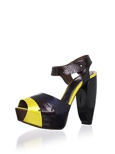 MARNI Women's Sandal Vitello Vernice (Saffron/Coffee)