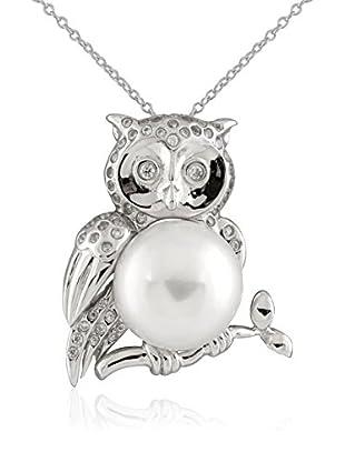 Splendid CZ & 12-13mm White Pearl Owl Pendant Necklace