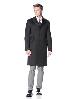 Prada Men's Knee Length Three Button Overcoat (Black)