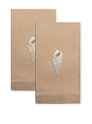 Henry Handwork Set of 2 Pearl-White Cone Shell Embroidered Hand Towels, Grey