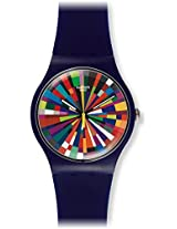 Swatch Women's SUOV101 Color Explosion Dark Purple Silicone Watch
