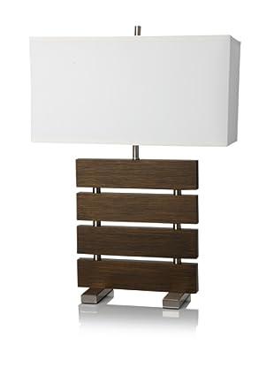 Nova Lighting Divide Reclining Table Lamp, Dark Brown/Nickel/White