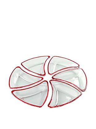 Set Para Aperitivo 6 Uds. Cristal Blanco/Rojo