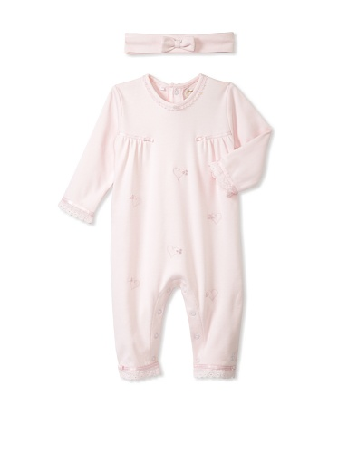 Emile et Rose Baby Girl's Heart Bodysuit with Hairband (Pale Pink)