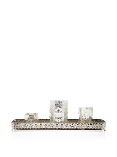 Zodax Bristol Embossed Tray with Antiqued Candle Holders, Silver