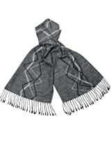 Reversible Freestyle Zigzag Rayon Silky Cashmere-Feel Long Scarf - Gray