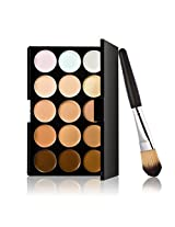 Vorcool 15 Colors Contour Face Cream Makeup Concealer Palette With Powder Brush