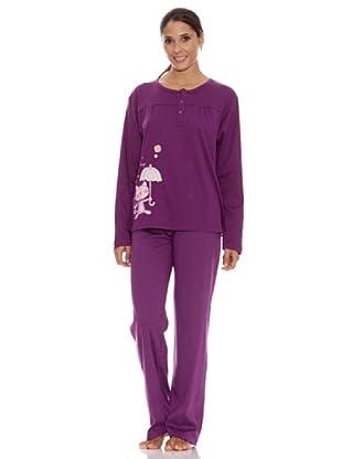 Blue Dreams Pijama Señora Punto Liso (Violeta)