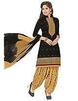 Salwar Studio Black & Beige Cotton Dress Material with Dupatta Royal Patiyala-5004