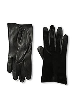 Portolano Women's Silk-Lined Leather Driving Glove with Haircalf Top (Black/Black Haircalf)