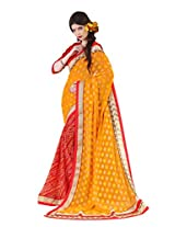 Bahubali Womens Half brasso pettern and half bandhni print with fancy lace(85614_Gold and Red Colour Saree)