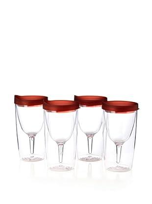 AdNArt Set of 4 Vino 2 Go Cups (Red)