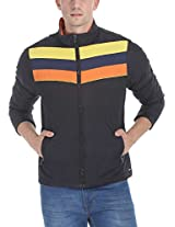 Zobello Men's Polyester Padded Racing Stripes Cire Jacket(51071A_Black/Yellow/Navy/Orange_X-Large)