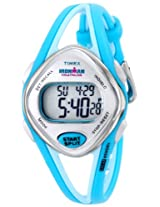 Timex T5K785 Womens Ironman Triathlon Indiglo 50-Lap Grey Digital Dial Light Blue Resin Strap Chronograph Watch