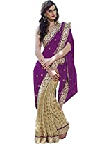 Beige Magenta Wedding Wear Saree Heavy Embroidery Stone Work Georgette Sari