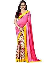 Sapphire Fashions Women's Pink Georgette Sari