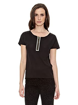 Cortefiel Camiseta Cremallera Escot (Negro)