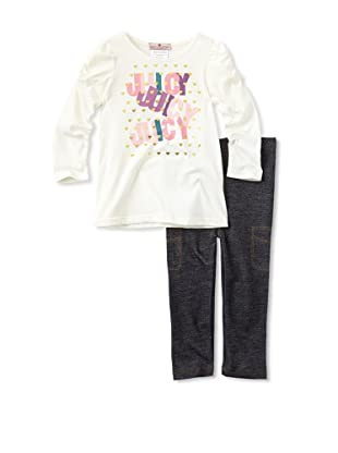 Juicy Baby 2-Piece Legging Set (White/Denim)