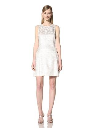 Pink Tartan Women's Crew Neck A-Line Dress (Silver)