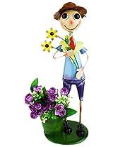 Green Girgit Metal Tall Boy Holding Flowers Planter, 22.5 cm x 17 cm x 55.0 cm, 1 Piece