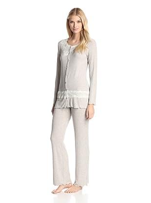 Valery Sleepwear Women's Cinderella Lurex 2-Piece PJ Set (Beige)
