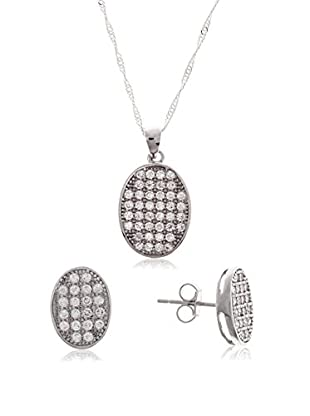 Silver One Juegos Oval Diamantado Zirconium