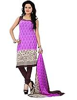 Khushali Presents Georgette Chudidar Dress Material(Pink,Brown)