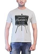 THESMO Unisex Round Neck Cotton T-Shirt, Grey, XL