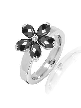 Nahla Jewels Ring Sterling Silber Zirkonia (schwarz/weiß)