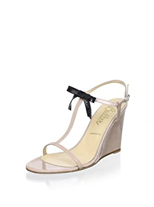 Butter Women's Camisol Bow T-Strap Wedge (Blush/Black)