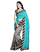 Shree Sanskruti Women's Bhagalpuri Silk Saree (BHAGALPURI_Blue and Grey)