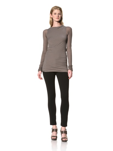 RICK OWENS Women's Long Sleeve Boat Neck Top (Darkdust)